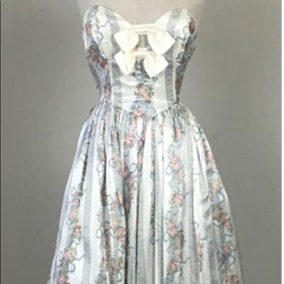 gunne sax Dresses   Vintage 80s Strapless Bow Dress195   Poshmark